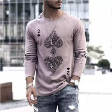 New men's top <b>personalized two</b> sets of <b>spades</b> long sleeve loose T ...