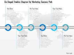 seven staged linear timeline diagram powerpoint template six staged timeline diagram for marketing success path powerpoint