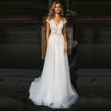 <b>LORIE Beach Wedding Dress</b> Lace Scoop A Line Appliques Tulle ...