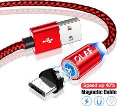 OLAF <b>Magnetic</b> Micro USB Cable <b>1M 2M</b> Fast Charging Cord ...