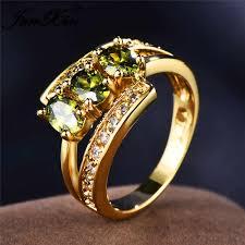 JUNXIN <b>Three Oval</b> Stone Olive Green Zircon Engagement Rings ...