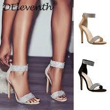 <b>Sparkling Apricot Black</b> Diamond Crystal High Heels Women ...