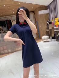 Dress summer 2019 new women's bow embroidery POLO sirt ...