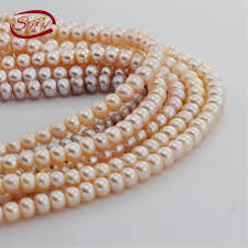 SNH 8mm AAA button PEACH <b>5 strands</b>/package <b>natural</b> pearl ...