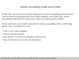 senior accounting clerk cover letter account clerk cover letter
