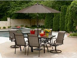 patio table and 6 chairs: patio set with brown patio umbrella and  person patio chairs full size