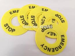 <b>100pcs 22mm</b> Emergency Stop Warning Ring Plastic Sign <b>Push</b> ...