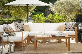 restoration hardware patio  madera teak sectional from pottery barn