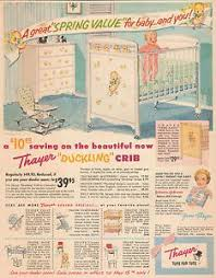 baby crib furniture with decals all the rage ad from 1956 thayer baby kids baby furniture