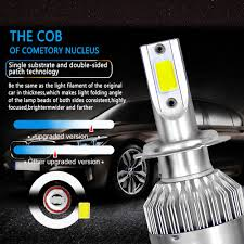 1 Pair 38W 7200LM COB H1 <b>C6 Car LED Headlight</b> Bulb ...