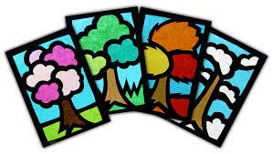 Decorazioni Finestre Scuola Primaria : Decoriamo le finestre con vetrate lu albero delle stagioni
