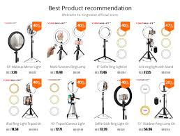 <b>LED Ring Light</b> 16/20/26cm 5600K Dimmable Selfie <b>Ring Lamp</b> ...
