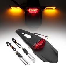 Universal Motorcycle <b>LED</b> Brake <b>Rear Fender</b> Tail <b>Light</b> Stop Turn ...