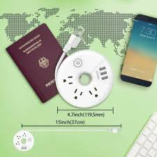 Travel <b>Power Strip NTONPOWER</b> 3 Outlets 3 USB Portable Desktop ...