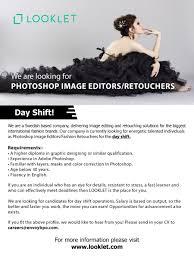 photoshop image editors retourchers day shift looklet latest best job site in sri lanka cv lk
