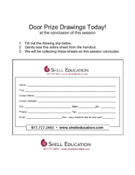 notice door prize drawing slip template amp user  s guide drawings today shell educationpdf