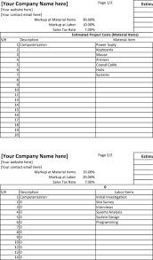 blank estimate template premium templates forms project estimate spreadsheet template excel editable