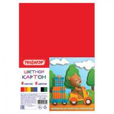 <b>Картон цветной</b> А4 немелованный, 8 листов 8 цветов, в пакете ...