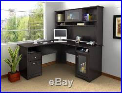 home office desk with hutch computer corner writing l shaped wood bush free ship bush desk hutch office