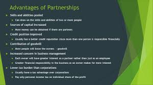 forms of business ownership business management a chapters and 9 advantages of partnerships