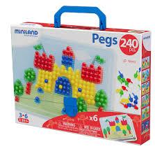 Развивающая <b>Мозаика Miniland Pegs</b> 10 мм (240 элементов, 6 ...