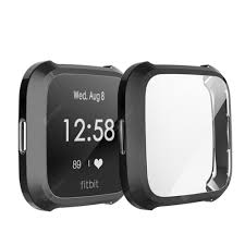 Soft TPU Full <b>Case</b> Screen Protector <b>Cover</b> for Fitbit Versa Lite ...