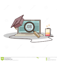 isolated cartoon college degree online job searching stock vector isolated cartoon college degree online job searching