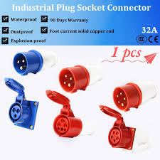 <b>1pcs</b> 32A <b>Waterproof</b> Industrial <b>Plug</b> or <b>Socket Connector Three</b> ...