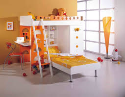 impressive cute bunk bed design with slim white lacquer wooden desk and unique red chairs plus kids charming kids desk
