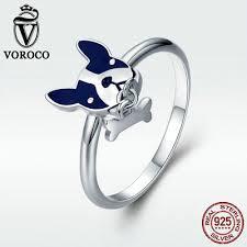 <b>Voroco</b> French Bulldog Dog <b>Real 925 Sterling</b> Silver Ring With Bone ...