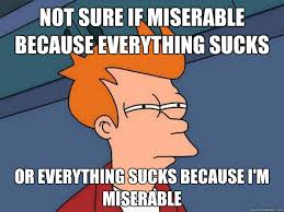 Not sure if miserable because everything sucks or everything sucks ... via Relatably.com