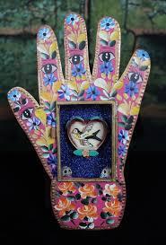 Hand Shape Retablo Healing Hand? Love <b>Bird and Heart</b> Tin Niche ...
