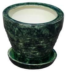Купить <b>Горшок керамический с</b> поддоном зеленый Ø14 см с ...