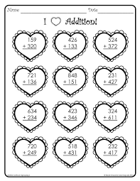 Valentine's Day Math | Valentines Day, Worksheets and ValentinesValentine's Day themed worksheets that include 3-digit addition problems with and without regrouping.