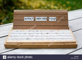 the words what inspires you on an old school letter box stock stock photo the words what inspires you on an old school letter box