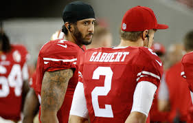 colin kaepernick anthem protest grabs national interest the mmqb kaepernick has slipped down the 49ers quarterback depth chart and currently sits behind expected starter blaine gabbert