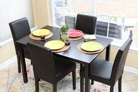 4 chair kitchen table:  pc black leather  person table and chairs brown dining dinette black parson chair