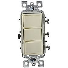 eaton 7729la sp 15 amp 3 way 120 volt decorator heavy duty grade leviton r66 01755 0ts decora triple rocker combination switch light almond