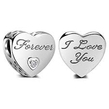 I Love You Forever <b>Charm Authentic</b> 925 <b>Sterling Silver</b> Beads <b>Fits</b> ...