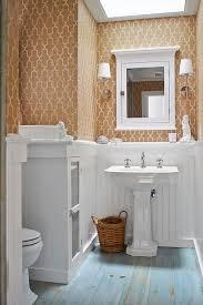 washstand bathroom pine: view full size toilet nook gold moroccan wallpaper original pine floor painted plank floor