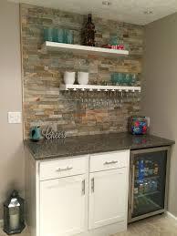 functional mini kitchens small space kitchen unit: small dry bar with lowes desert quartz ledge stone floating shelves hanging glasses rack