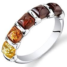 Five Stone Baltic Amber Ring Sterling Silver Multiple ... - Amazon.com