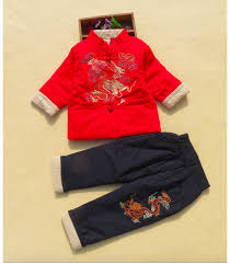 Red with Black <b>Chinese Clothing with Embroidery</b> for kids ...