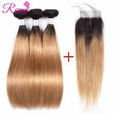 Brazilian Straight Human Hair <b>Bundles with</b> Closure <b>Ombre</b> T1B/27 ...