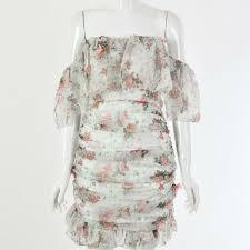 <b>Elegant Floral</b> Print <b>Ruched</b> Chiffon Dress – BellaDuchessa