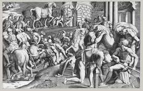 heroes in italian mythological prints essay heilbrunn timeline the trojans pulling the wooden horse into the city