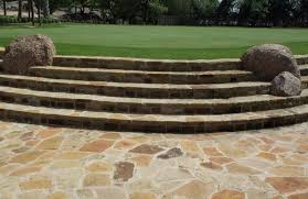 gold limestone oversized flagstone patio