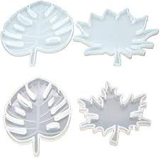 <b>4 Pcs/set Resin</b> Leaves Mould Silicone Coaster Mold Maple Leaf ...