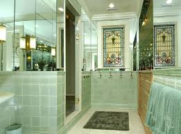 green bathroom screen shot: bathroom with tiffany glass window screen shot    at  am