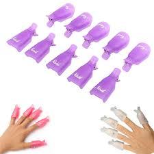 GUJHUI <b>10PCS Plastic Nail</b> Art Soak Off Cap Clip UV Gel Polish ...